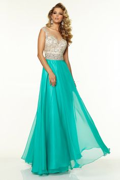 2015 Bateau Beaded Tulle Bodice A Line Prom Dress With Long Chiffon Skirt USD 163.99 EQPST37X9T - EllePoque.com