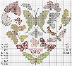Cross stitch butterfly and chart.