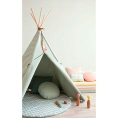 The Nevada Teepee in pale Provence Green from Nobodinoz is the perfect play tent for your little ones. These adventurous adorable tipis have feather details will create adventure Wooden Feather, Nevada, Baby Rocker, Moda Blog, Blog Deco, Storage Baskets, Cabana, Room Inspiration, Kids Bedroom
