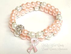 Pink Breast Cancer Beaded Bracelet Set Breast by RandRsWristCandy