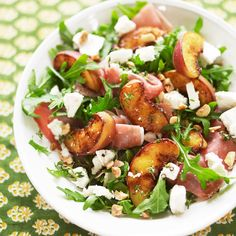 Griddled Peaches, Rocket, Parma Ham And Goats' Cheese Salad