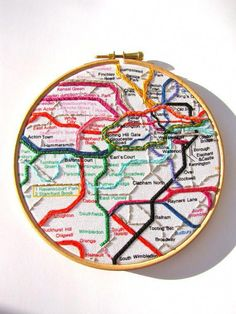 """""""London Underground The Tube Fun Embroidery Hoop by mirrymirry"""" This would be fun to make of other public transit routes!find NYC metro map and tranfer to cloth, stitch Marco's linesSuper cute idea, esp if you could find printed map fabric and ju Hand Embroidery Stitches, Modern Embroidery, Embroidery Hoop Art, Hand Embroidery Designs, Cross Stitch Embroidery, Embroidery Ideas, Embroidery Tattoo, Embroidery Techniques, Ribbon Embroidery"""