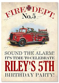 Firetruck Party Sign - Kids Birthday Party - DIY PRINTABLE FILE by Sassaby