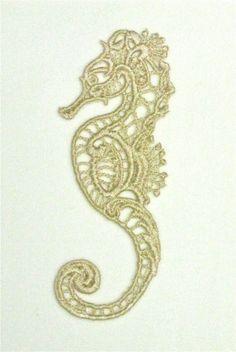 Sea horse lace applique