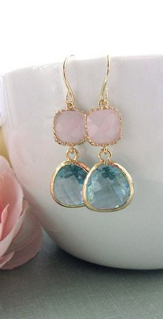 Gorgeous! Aqua blue and pink dangly earrings