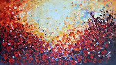 """Mooi abstract schilderij """"Licht"""". De figuren houden het midden tussen vrolijke vlinders en bloemen."""