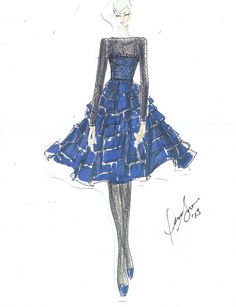 Sketch from the Dennis Basso Fall/Winter 2013 Collection