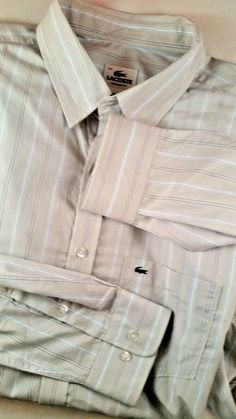 LACOSTE White Stripe Long Sleeve Men's Dress Shirt size 44  #Lacoste