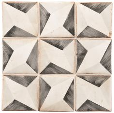 "ANN SACKS Tiempo 4-5/8"" x 4-5/8"" yaffo 4 terra cotta decorative tile in charcoal, grey and off white Floor Patterns, Tile Patterns, Textures Patterns, Graphic Patterns, Stone Mosaic, Mosaic Tiles, Wall Tiles, Tile Art, Floor Texture"