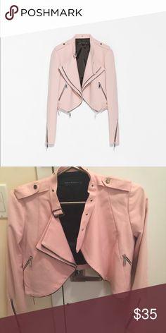 Zara jacket pastel pink biker Size Xs Zara Jackets & Coats Blazers