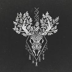 Deer Earth Nature Tree Runes - Viking Old Norse Pagan Folk Rune Art - Druid Tattoo, Pagan Tattoo, Norse Tattoo, Celtic Tattoos, Viking Tattoos, Deer Skull Tattoos, Deer Tattoo, Body Art Tattoos, Tattoo Drawings