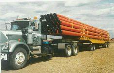Peben hauling pipe for the Norman wells to zama ab pipeline aprox 1984 Heavy Duty Trucks, Big Rig Trucks, Semi Trucks, Old Trucks, Pipeline Construction, Kenworth Trucks, Wells, Norman, Trailers