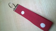 Red fabric key chain, dotty wristlet, key lanyard, fabric key fob £3.50