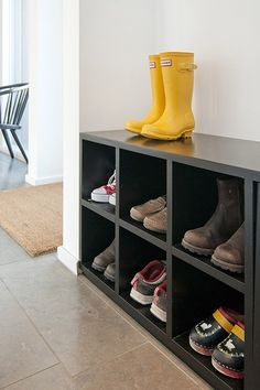 Ikea bookcase as boot storage.