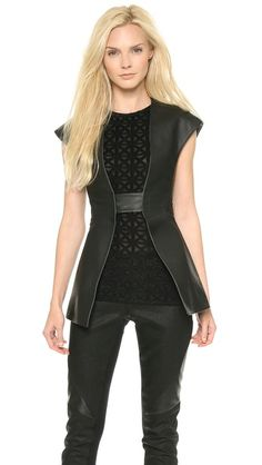 Gareth Pugh Tailored Leather Vest; cap sleeves. looks like a jedi outfit