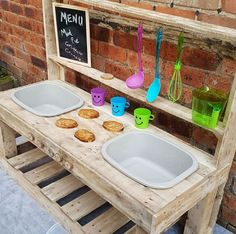 Early Years garden of our dreams wish list. What to have in your toddler garden or in your early years setting to ensure continuous provision. Outdoor Play Kitchen, Diy Mud Kitchen, Mud Kitchen For Kids, Kids Outdoor Play, Outdoor Play Spaces, Outdoor Learning, Outdoor Fun, Kitchen Taps, Outdoor Games