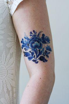 Delft Blue tattoo - a temporary tattoo by Tattoorary