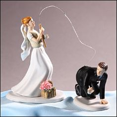 """perfect wedding cake topper for my fisherman  Or FOR US THAT MET AND MARRIED ON THE """"PLENTY OF FISH"""" dating site"""