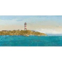Tangletown Fine Art Lighthouse Seascape I V3 Crop by James Wiens Poster Frame - 17 x 34 x 1.5 in., As Shown