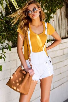Free People Strappy White Distressed Denim Overalls