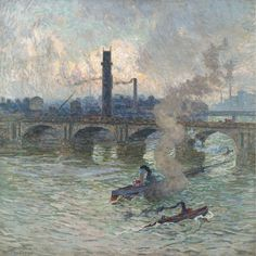 Emile Claus - Streamboats on the Thames, 1916. Oil on canvas,