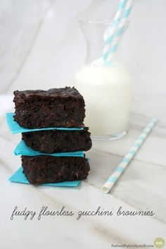 Fudgy Flourless Zucchini Brownies...made with clean, real food ingredients and they're vegan, gluten-free, dairy-free, egg-free, flourless, paleo-friendly and contain no refined sugar | The Healthy Family and Home