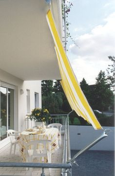 Awning system for awning Kit Balcony II Side view - Garden & Terrace - Balcony Curtains, Balcony Privacy, Balcony Garden, Balcony House, Balcony Shade, Outdoor Drapes, Shade House, Apartment Balconies, Home Decor