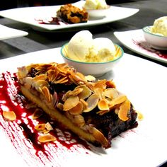 Just whipped up a yummy sour cherry & almond tart Kids Menu, Sour Cherry, Bar Grill, Tart, Seafood, Almond, Grilling, Prawn, Dining