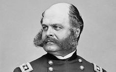 General Ambrose Burnside You know your facial hair is manly when they name a certain type of it after you. General Ambrose Burnside was a politician, inventor, railroad exec, Union general, and the Father of Sideburns. Moustaches, American Soldiers, American Civil War, Battle Of Fredericksburg, Mexican American War, American History, Photos Rares, Rare Historical Photos, Rare Photos