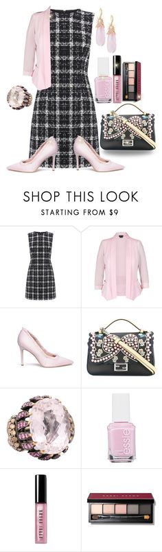 """""""Frosty Pink Inspiration"""" by jfcheney ❤ liked on Polyvore featuring Warehouse, City Chic, Sam Edelman, Fendi, Essie, Bobbi Brown Cosmetics and Indulgems"""