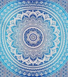 Blue Ombre Indian Wall Hanging Hippie Mandala Tapestry Bohemian Bedspread Ethnic…