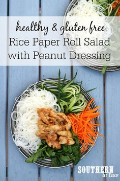 Like a deconstructed rice paper roll, this Vietnamese Rice Noodle Salad combines rice noodles with fresh vegetables and herbs, marinated chicken and an incredible peanut satay inspired dressing sauce.