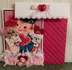3-D Vintage Image Valentine Yorkie and Maltese dog Large card with envelope