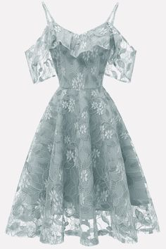 Lace Dress Solid Color Elegant A-Line Dress, Grey Blue / can find Lace dresses and more on our website.Lace Dress Solid Color Elegant A-Line Dress, Grey Blue / A Line Prom Dresses, Women's Dresses, Elegant Dresses, Homecoming Dresses, Cute Dresses, Beautiful Dresses, Fashion Dresses, Pretty Dresses For Women, Dresses Online