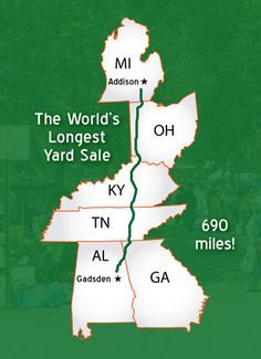 The 127 Yard Sale is the world's longest yard sale running 690 miles from Alabama to Michigan. Get more information and shopping tips here! Vacation Destinations, Vacation Spots, Vacations, Vacation Trips, Vacation Ideas, 127 Yard Sale, Yard Sale Finds, Places To Travel, Places To See