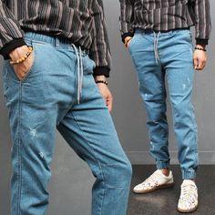 Elastic Waist Skinny Denim Jogger Pants Jeans P304