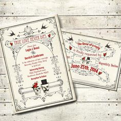 Lucretia - Vintage Victorian Skull Couple Printable DIY Wedding Invitation Suite - Digital Download - Customized