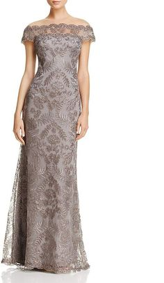 Tadashi Shoji Illusion Off-The-Shoulder Lace Gown Sleeves Designs For Dresses, Shrug For Dresses, Mob Dresses, Ball Dresses, Mother Of The Bride Dresses Long, Mother Of Bride Outfits, Lace Evening Gowns, Luxury Wedding Dress, Bride Gowns