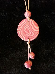 Polymer clay necklace for Breast Cancer Awereness