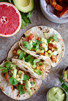Cajun Shrimp Tacos with Pineapple Grapefruit Salsa & Avocado Crema (Dairy & Gluten Free) via Nutritionist in the Kitch