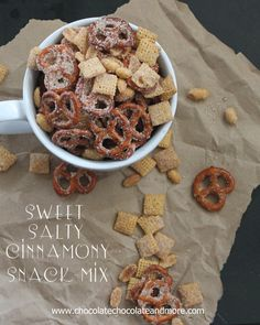 Sweet Salty Cinnamony Pretzel Snack Mix-you'll want to clean out the snack cabinet and make this! (No peanuts) Appetizer Recipes, Snack Recipes, Dessert Recipes, Cooking Recipes, Appetizers, Recipes Dinner, Puppy Chow Recipes, Chex Mix Recipes, Yummy Snacks