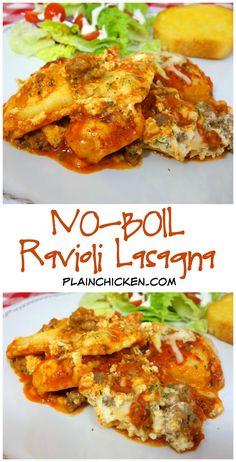 No-Boil Ravioli Lasagna recipe - frozen ravioli, spaghetti sauce ...