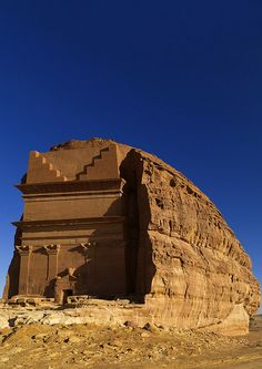 Madain Saleh (Hegra), Saudi Arabia is a sister city to Petra, Jordan.  It's the largest conserved site of the Nabataean civilization.  It has 111 monumental tombs dating from the 1st century BC to the 1st century AD.