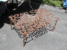Copper pipe table by Ysengrin Blackpaw, via Flickr