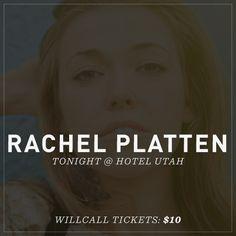 Rachel Platten / Tix on WillCall, SF, May 18th