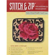 Stitch & Zip Red & Leopard Coin Purse / Credit Card Case Pre-assembled Needlepoint Kit | Shop Hobby Lobby