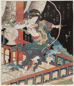 Goddess drawing a bow, Edo Period - Katsushika Taito II