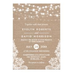 ================= ABOUT THIS DESIGN =================  Rustic Country Burlap String Lights Lace Wedding Invitation.  (1) All text style, colors, sizes can be modified to fit your needs. (2) If you need any customization or matching items, please contact me.