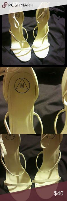 Missguided white heels White heels  Three straps Size 5  About 4 inch heel New never worn does have a scratch on one of the heels you can see in the heel Missguided Shoes Heels