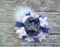 Stacked Boutique Bow Over the Top, Denim Princess Hair Bow Red Blue White Denim